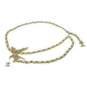 CHANEL Chanel Coco Mark Eagle Motif Chain Belt White Gold 01P