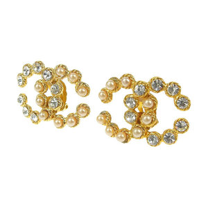 CHANEL Chanel Coco Mark Pearl Rhinestone Earrings Vintage Gold 2/8