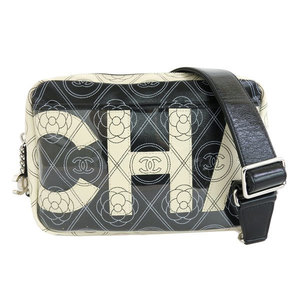 Chanel CHANEL Leather Shoulder Bag White Black
