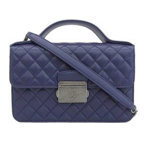 Chanel CHANEL Matrasse chain shoulder bag leather navy 23 series * BG