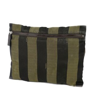 Vintage Fendi FENDI Pecan Ladies Pouch Back-in Bag Made in Italy Striped Black Green