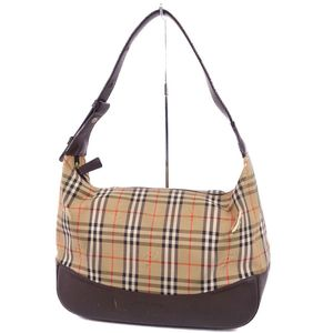 Vintage Burberry Women's Mini Shoulder Bag Handbag Horse Ferry Check Beige