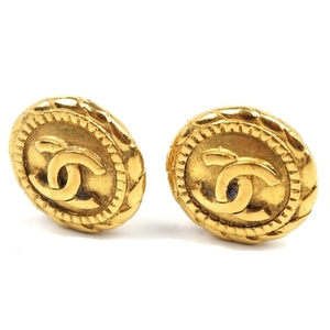 Vintage Made in France Chanel CHANEL Coco Mark Earrings Gold Accessories Vintage Ladies