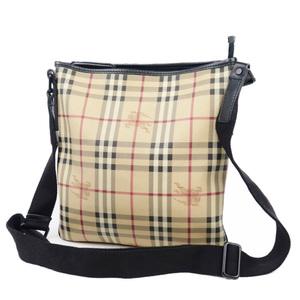 Burberry BURBERRY Horse Ferry Check PVC Leather Shoulder Bag Men Women Beige Black