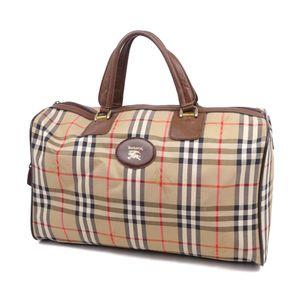Vintage Burberrys Horse Ferry Check Boston Bag Handbag Canvas Leather Beige 鞄