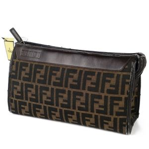 Vintage Fendi FENDI Ladies Men's Zucca Pattern Second Bag Pouch Made in Italy Brown