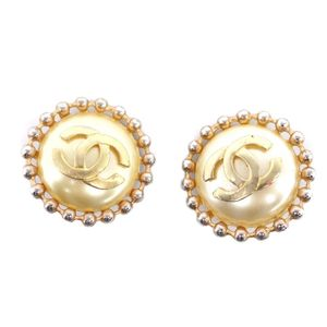 Vintage Chanel CHANEL Ladies Fake Pearl Coco Mark Earring Gold