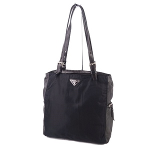 Prada PRADA Made in Italy Ladies Shoulder Bag Tote Nylon Lamb Leather 鞄 Triangle Logo Plate Black