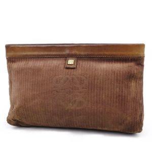 Loewe LOEWE Spain Made Anagram Ladies Suede Clutch Bag Brown