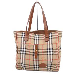 Vintage Burberry Women's Horse Ferry Check Shoulder Bag Canvas Leather Beige Ladies 鞄