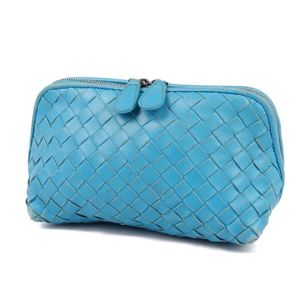 Bottega Veneta Women's Intrechart Leather Pouch Light Blue Made in Italy Genuine Bag 化粧 Cosmetic
