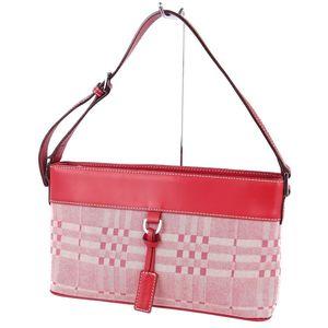 Burberry BURBERRY Ladies Semi-Shoulder Bag Handbag Check Canvas Leather Red