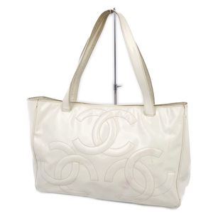 Chanel CHANEL Ladies Triple Coco Mark Patent Leather Shoulder Bag Tote White Made in Italy Enamel Vintage