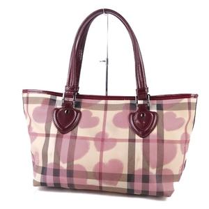 Burberry BURBERRY Ladies Heart Check Handbag Tote Bag PVC ベ ー ジ ュ Beige Bordeaux