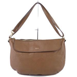 Furura FURLA Women's Semi-Shoulder Bag Made in Italy Leather Brown