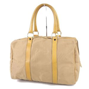 Vintage Celine CELINE Italian Ladies Carriage Hardware Handbag Canvas Leather Beige Bag 鞄