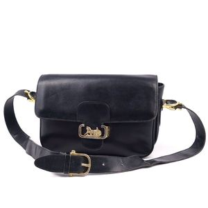 Vintage Celine CELINE carriage metal fittings ladies shoulder bag Italian calf leather black gold vintage