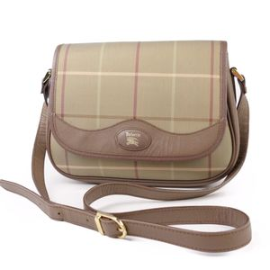 Vintage Burberrys Ladies Check Shoulder Bag Canvas 鞄 Khaki