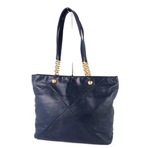 Salvatore Ferragamo Ladies Lamb Leather Chain Shoulder Bag Tote Navy Italy Made 鞄