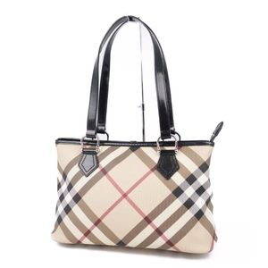 Burberry BURBERRY PROSUM Check PVC Leather Semi Shoulder Bag Handbag Ladies Beige Black