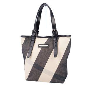 Burberry BURBERRY PROSUM Check Canvas Leather Handbag Semi Shoulder Bag Ladies Light Beige Black