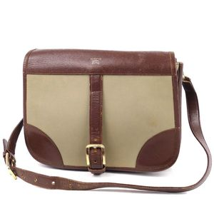 Vintage Burberrys Ladies Shoulder Bag Horse Ferry Back Check Khaki Brown Leather