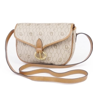 Vintage Christian Dior Made in France Ladies Honeycomb Pattern Shoulder Bag PVC Total Gray Leather