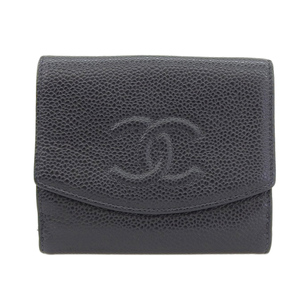 Chanel CHANEL caviar skin with hook two-fold wallet black seal 6th stand A13496