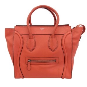 Celine CELINE luggage mini shopper handbag leather vermillion 165213LUG27VL