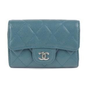 Chanel CHANEL key case 4 caviar skin green 26 series A84400