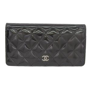 Chanel CHANEL long folding wallet patent black 17 series A31509