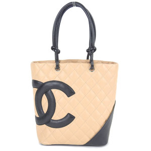 Chanel CHANEL Cambon line tote bag leather beige × black 9th series A25167
