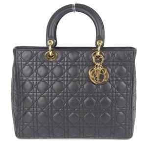 Christian Dior Lady Handbag Leather Black