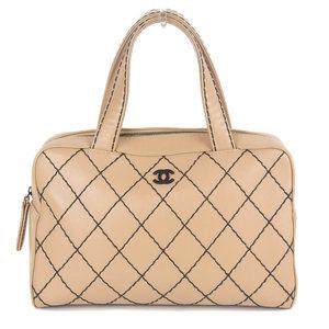 Chanel CHANEL wild stitch mini Boston handbag leather beige 6 series A18121