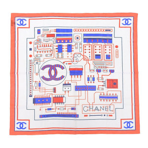 Chanel CHANEL Current Tag Coco Mark Semiconductor Pattern Silk Blend Cotton Scarf 90 × 90cm Red White Blue Ladies Wiring Shawl