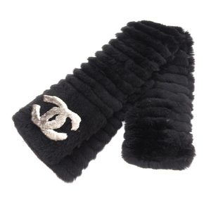 Chanel CHANEL current tag 100% orginal coco mark with long muffler black rabbit fur autumn winter stall