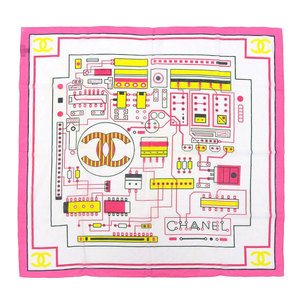 Chanel CHANEL Current Tag Coco Mark Semiconductor Pattern Silk Blend Cotton Scarf 90 × 90cm Pink White Ladies Wiring Shawl