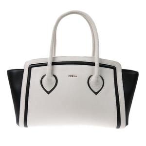 Furura FURLA current tag college COLLEGE leather tote handbag white black ladies A4OK commute large capacity several times use