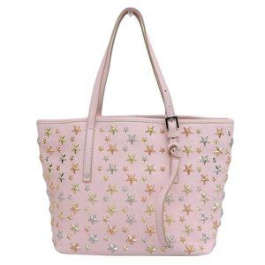 Genuine JIMMY CHOO Star stud leather handbag pink