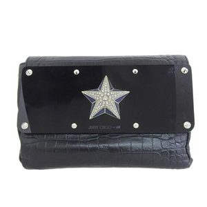 Genuine JIMMY CHOO Jimmy Choo Leather Clutch Bag Black H & M Collaboration