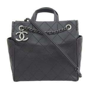 Genuine CHANEL Chanel Lamb 2WAY Handbag Shoulder Bag Black 21st Leather