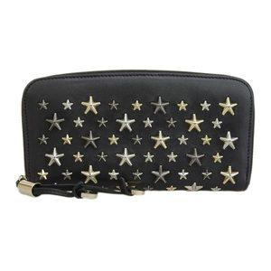 Genuine JIMMY CHOO studded leather long wallet FILIPA black LTR 000715
