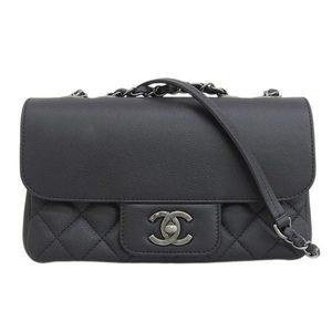 Genuine CHANEL Chanel calf / caviar shoulder bag black 24 series leather