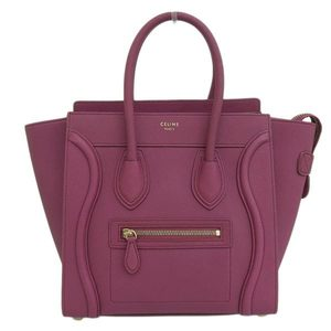 Genuine CELINE Celine Luggage Micro Shopper Wine Red 147793AQL.29RU Leather