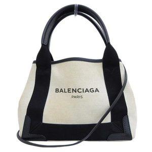 Genuine BALENCIAGA Balenciaga Navy Cabass XS 2WAY Handbag Natural × Black 390346 AQ38N 1081 Leather