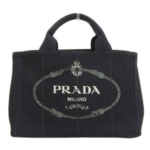 Genuine PRADA Prada Kanapa Canvas Tote Bag Black Leather