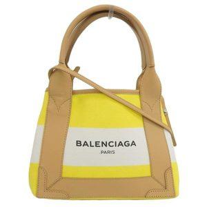 Genuine BALENCIAGA Balenciaga Navy Cabass XS 2WAY Handbag Natural Yellow Leather