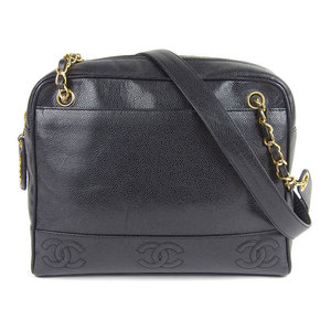 Genuine CHANEL Chanel Caviar Skin Triple Coco Mark Chain Shoulder Bag Black 4th Leather