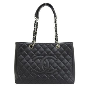 Genuine CHANEL Chanel Caviar Skin Reprint Tote Bag SV Metal Black 13th Leather