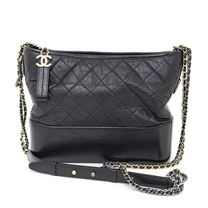Chanel CHANEL Gabrielle de Hobo Bag Aged Calf Smooth Calfskin Black A93824 Chain Shoulder Quilted Serial Seal Yes